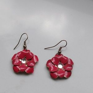 Pink magnolia earring